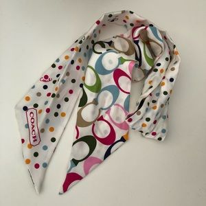 100% Silk Multicolor Reversible Coach Scarf